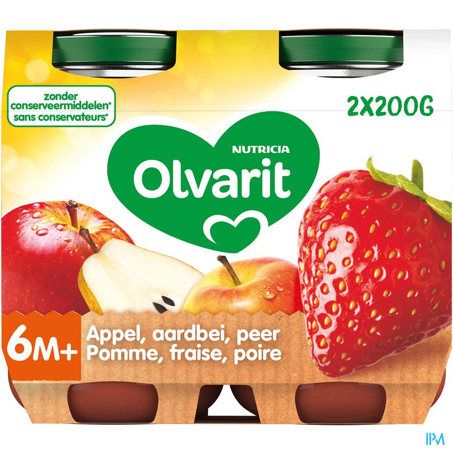 Olvarit Fruit Appel Aardbei 2x200g 6m61