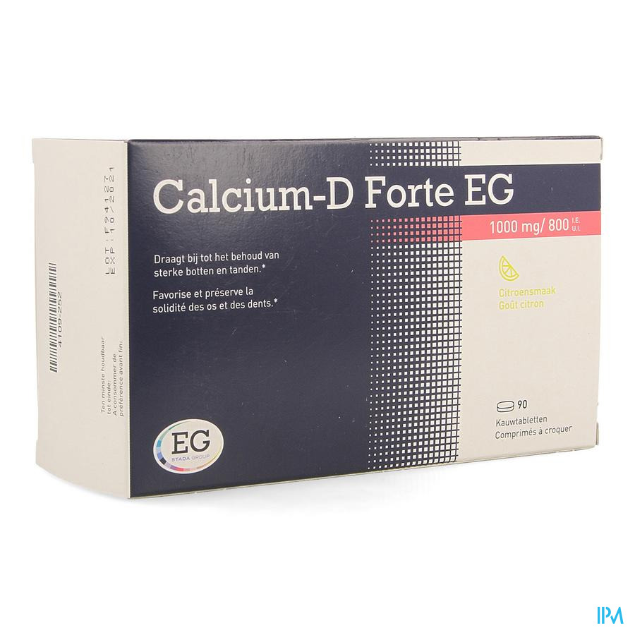 CALCIUM-D FORTE EG Citroen 90 kauwtab 1000mg/800IE