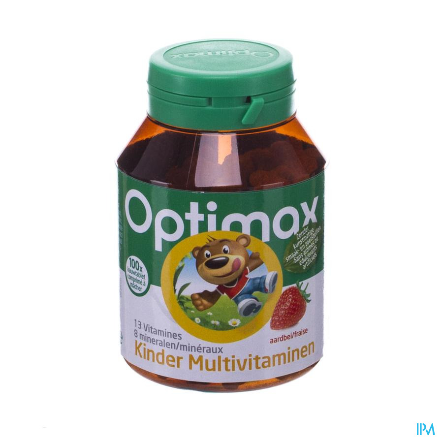 Multivitaminen Kinderen Aardbei Tabl 100 Optimax