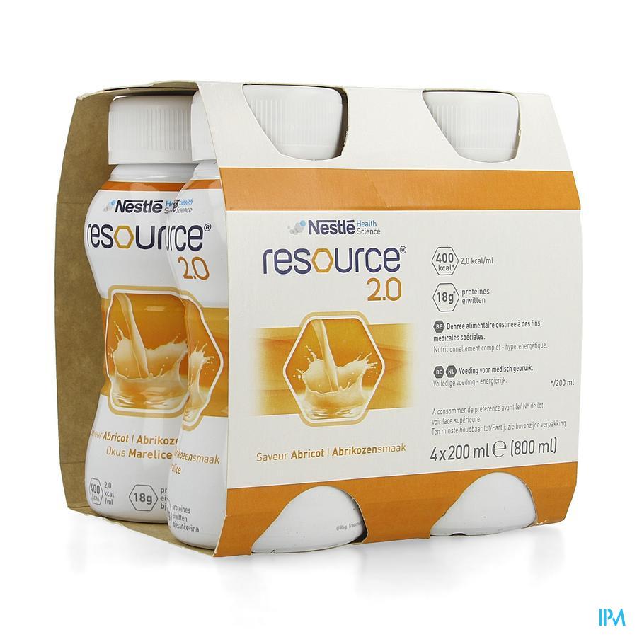 Resource 2.0 Abrikoos 4x200 ml 12100545  -  Nestle Belgilux