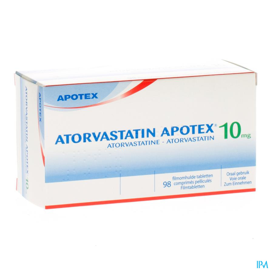 Atorvastatin Apotex 10 mg Filmomhulde Tabletten 98 X 10 mg