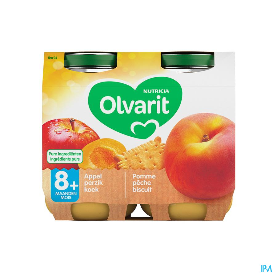 Olvarit Fruit Pomme Peche Biscuit 2x200g 8m54