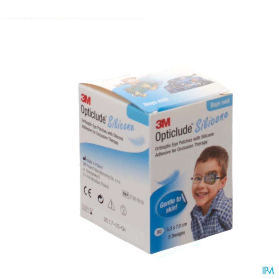 Opticlude Silicone Pansement Orthoptique Midi Boys 53mm X 70mm