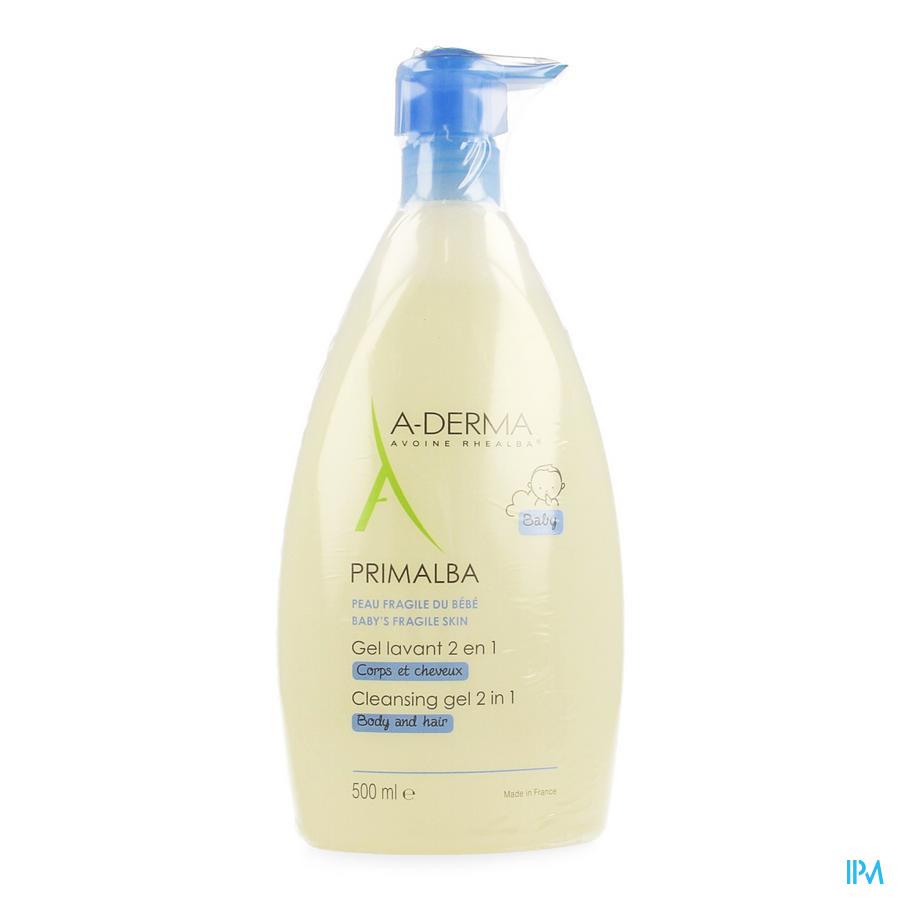 Afbeelding Aderma Baby Primalba 2-in-1 Reinigende Wasgel voor Lichaam en Haar voor de Gevoelige Babyhuid Pompflacon 500 ml.