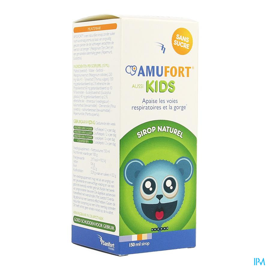 Amufort Kids Sirop Sans Sucre 150ml