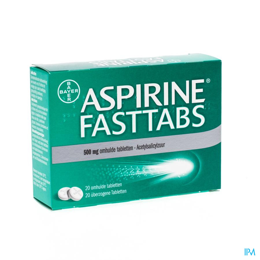 Aspirine Fasttabs 500 mg Filmomhulde tabl 20