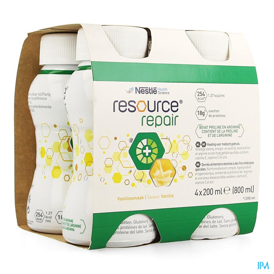 Resource Repair Vanille Fles 4x200 ml  -  Nestle Belgilux