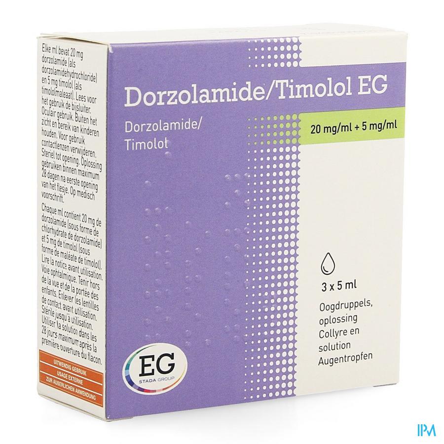Dorzolamide/timolol Eg 20mg/5mg Collyre 3x5ml