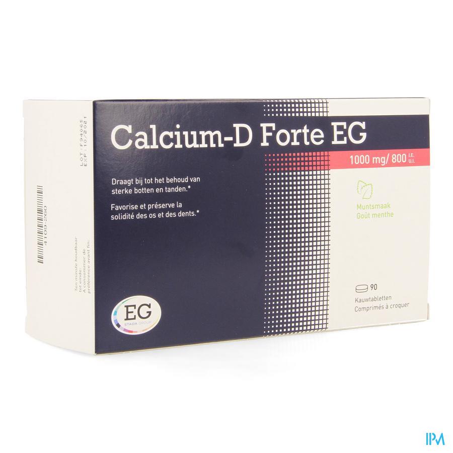 CALCIUM-D FORTE EG MUNT 90 Kauwtab 1000mg/800IU