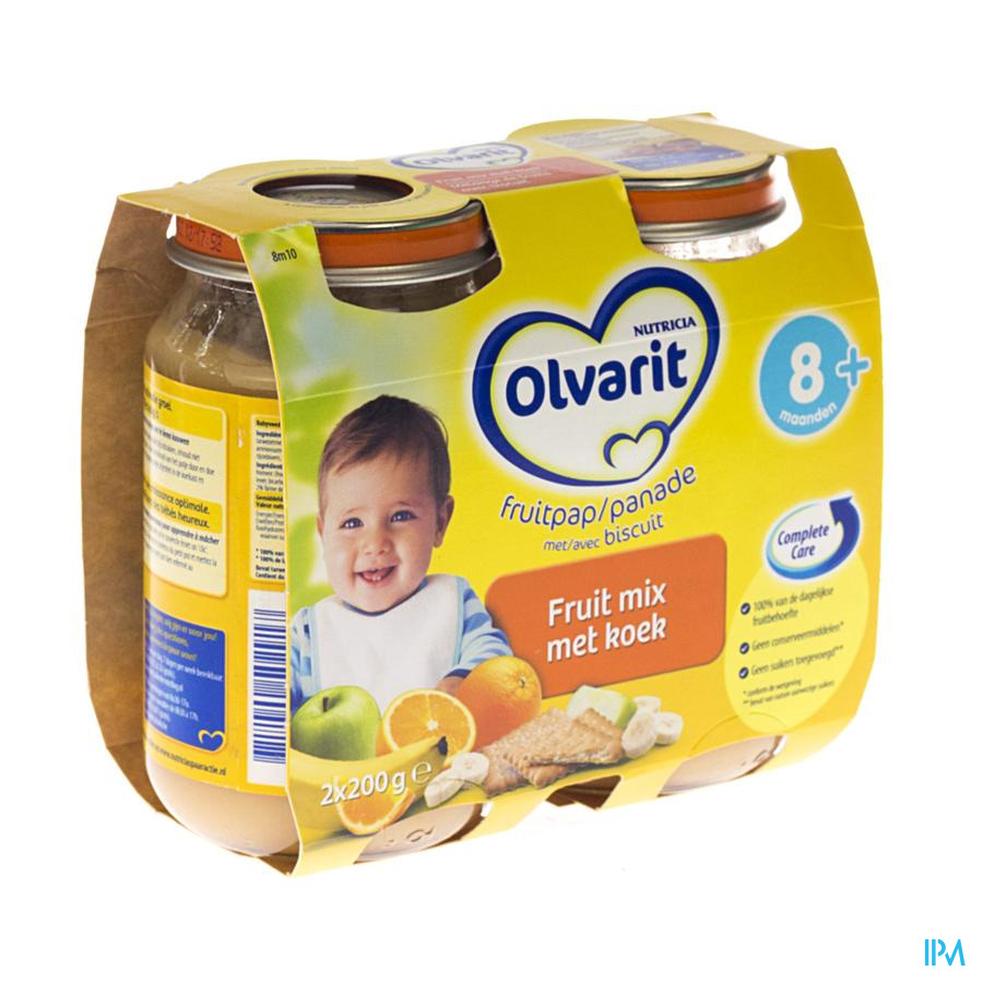 Olvarit Fruit Banaan-appel Met Koek 6m 2x200g