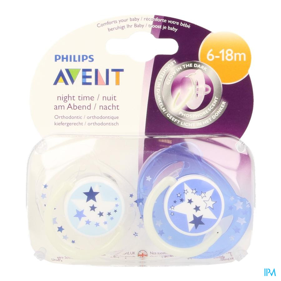 Philips Avent Sucette Silicone Nuit 6-18m 2 SCF176/22