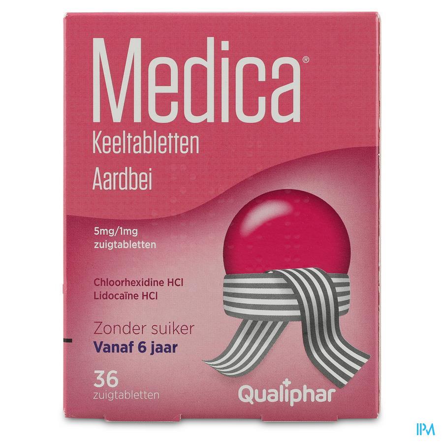 Medica Keeltabletten Aardbei 36 zuigtabletten