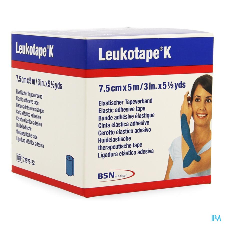 Leukotape K Kleefwindel Elast Blauw 7,5cmx5m 1