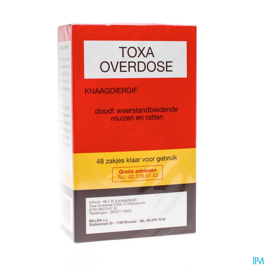 Toxa Overdose Muizenvergif 48 X 25g
