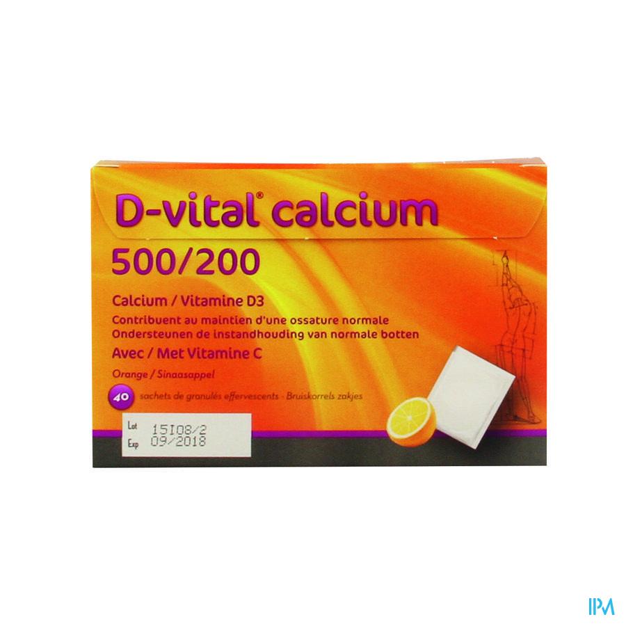 D Vital Calcium 500/200 Sinaas Zakjes 40