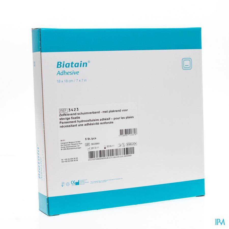Biatain Schuimverband Adhesive 18,0x18,0cm 5 33421 - Coloplast