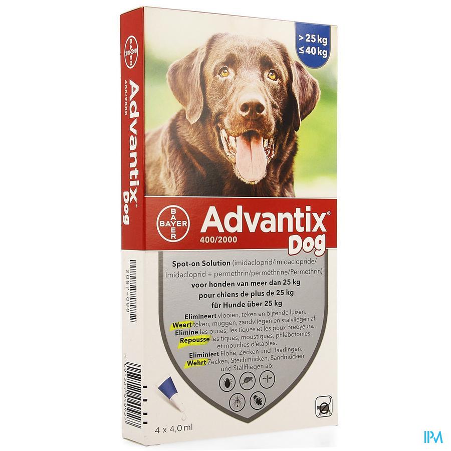 Advantix 400/2000 Chiens 25<40kg Fl 4x4,0ml