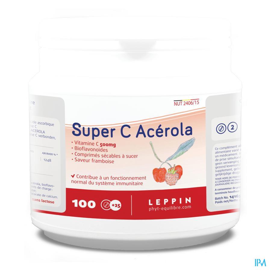 Leppin Super C Acerola 500mg Framb.kauwtabl 100+25