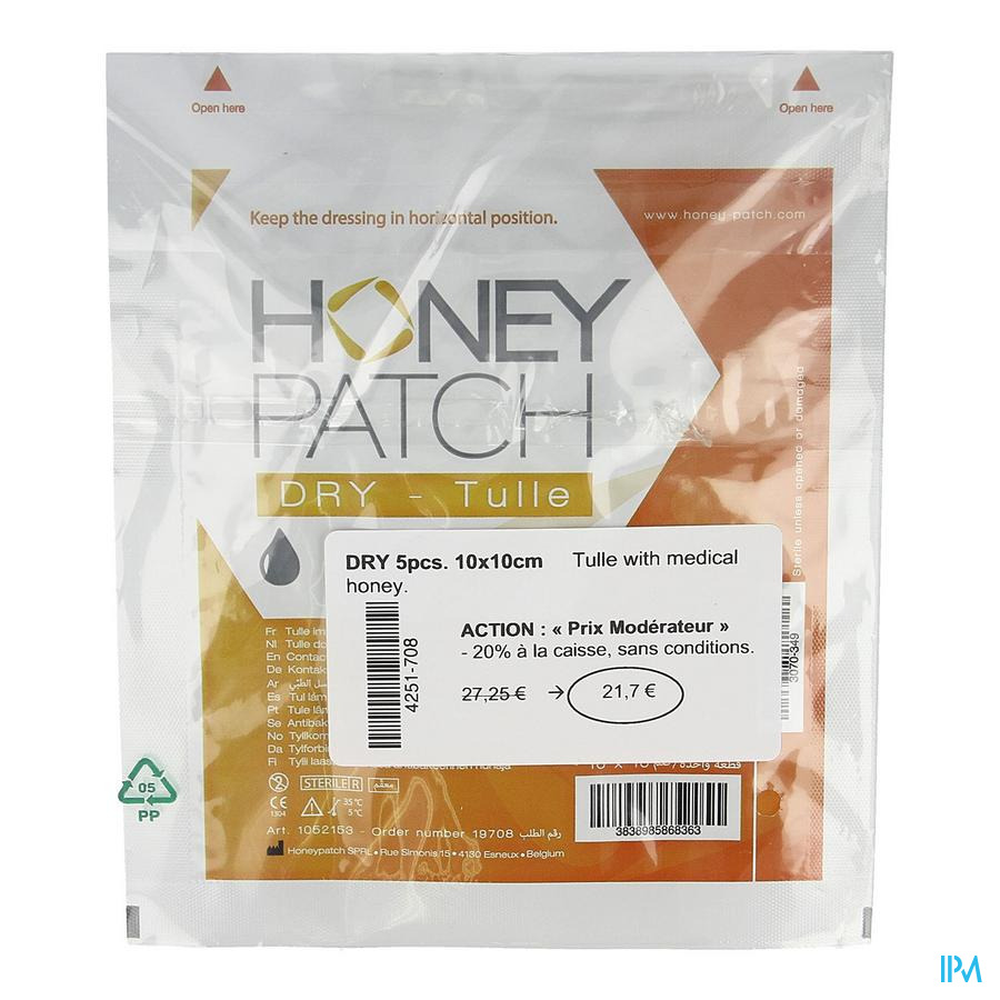Honeypatch Dry Genezende Honing 6,5g 10x10cm 5