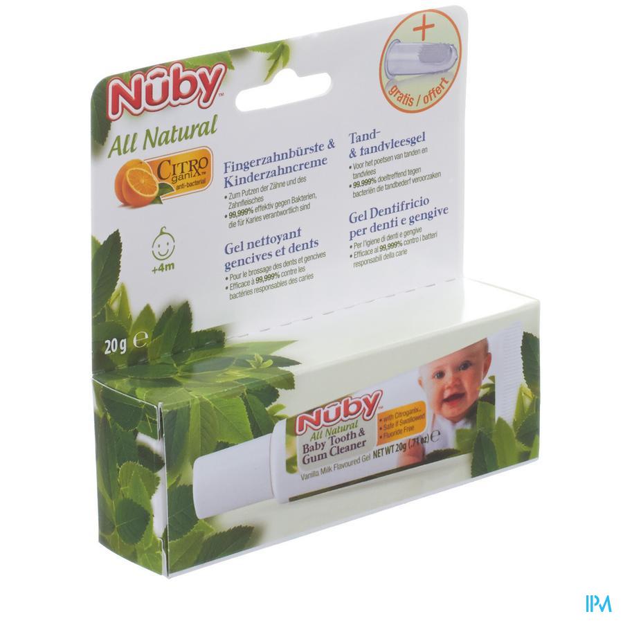 Nuby Citroganix Gel nettoyant gencives et dent + doigt massant – 15g - 4m+