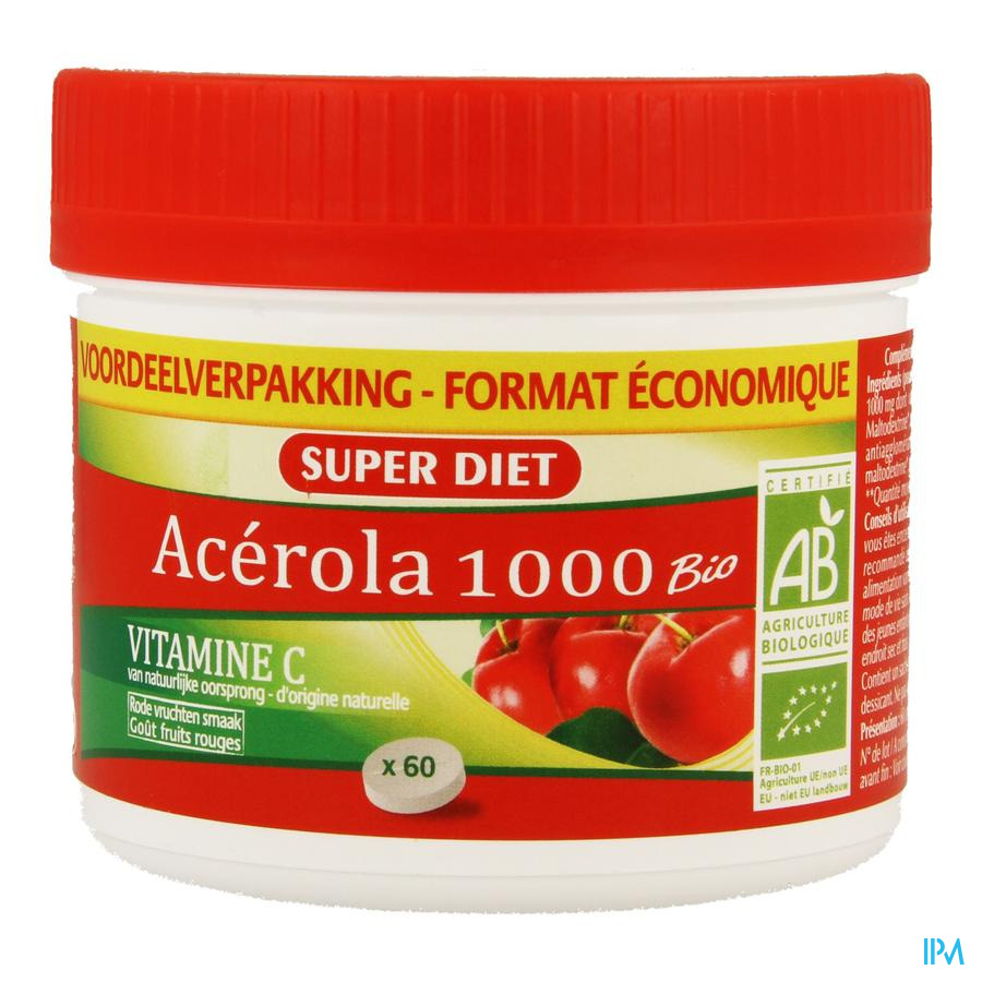Super Diet Acerola 1000 Bio Maxi Pot Comp Croq 60