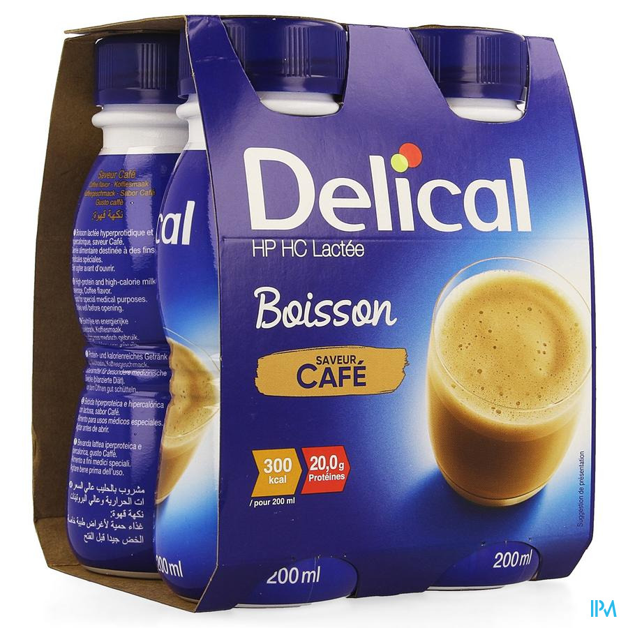 Delical Boisson Lactee Hp-hc Cafe 4x200ml