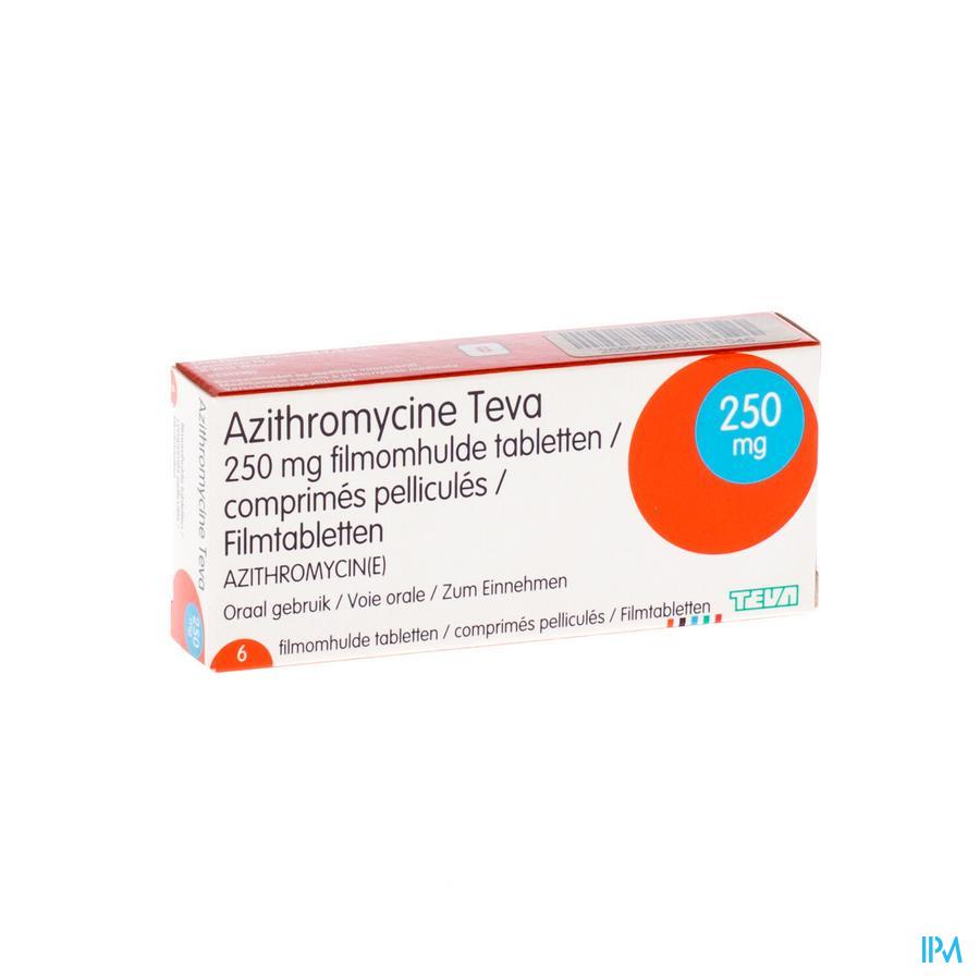 Azithromycine 250mg Teva Comp Pell 6x250 Mg