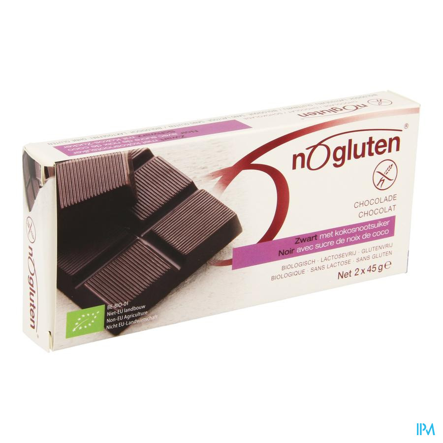 Nogluten Chocoladereep Zwart Bio 2x45g 3996