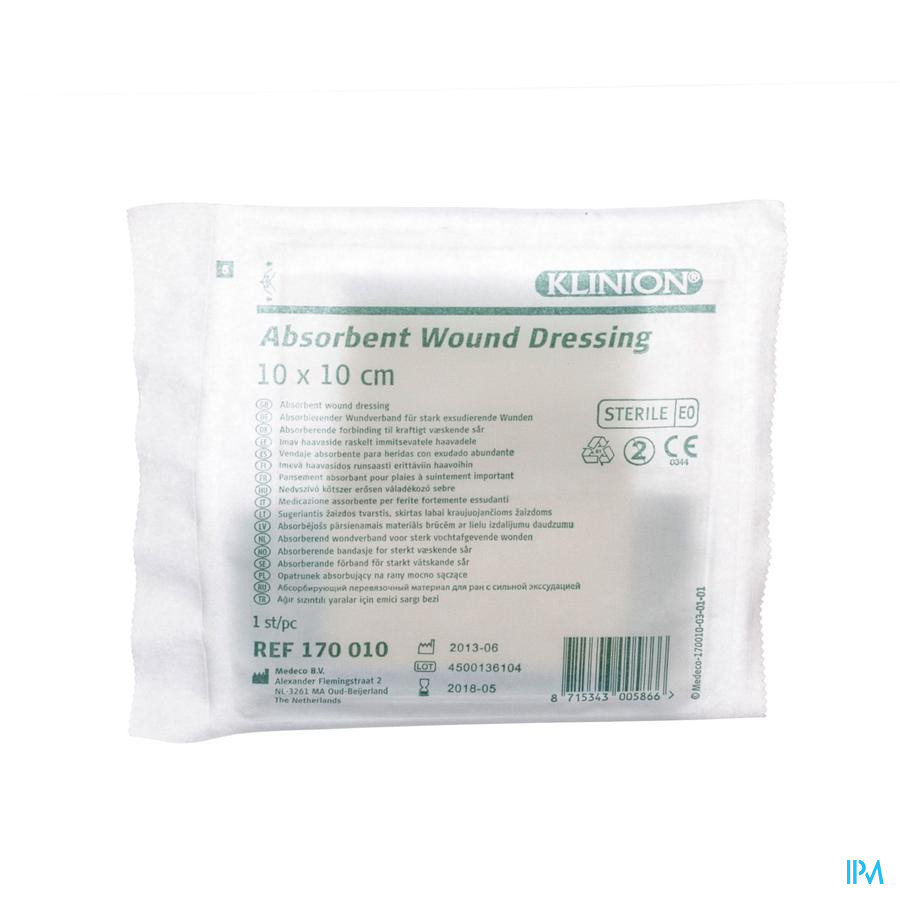 Klinion Absorberend Verband 10x10cm S 1 4170010