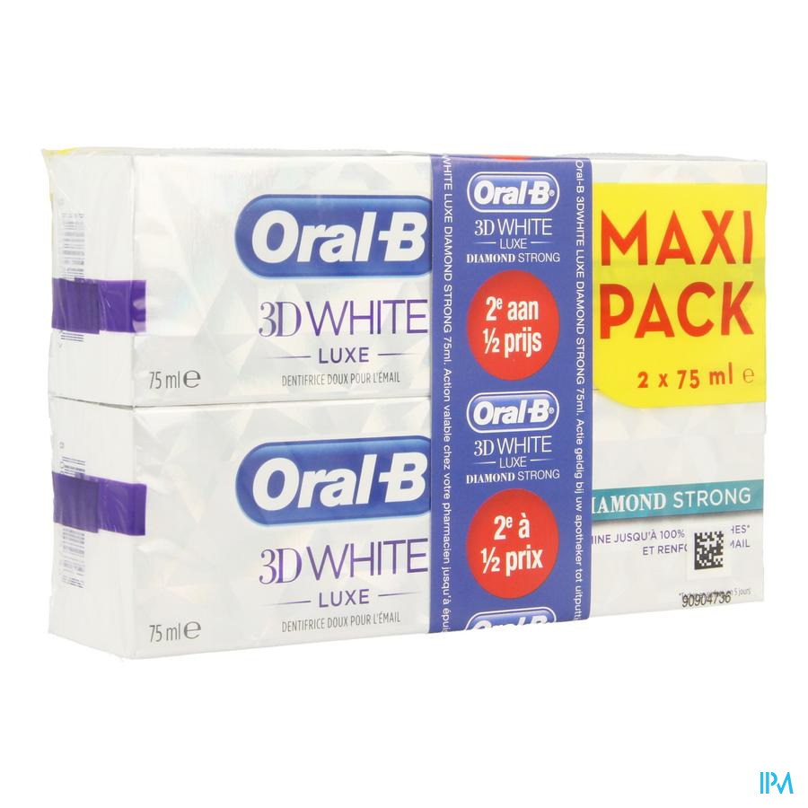 Oral B 3d White Diamond Strong 2x75ml 2e -50%