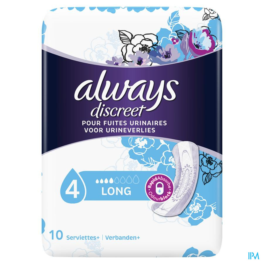Always Discreet Incontinence Pads Long Sp X10
