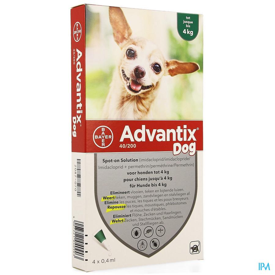 Advantix 40 - 200 Chiens < 4kg Flacon 4x0,4 ml