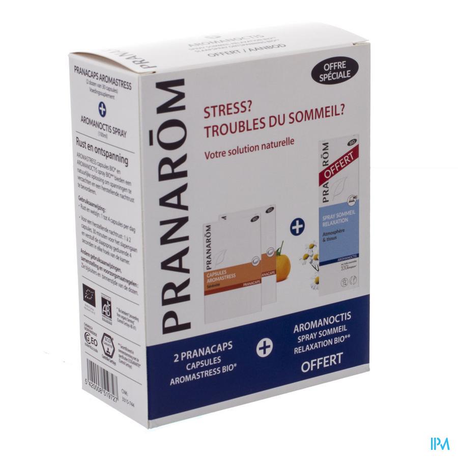 Image of Aromanoctis Slaapspray 100ml + Aromastress 2X30 - Pranarom