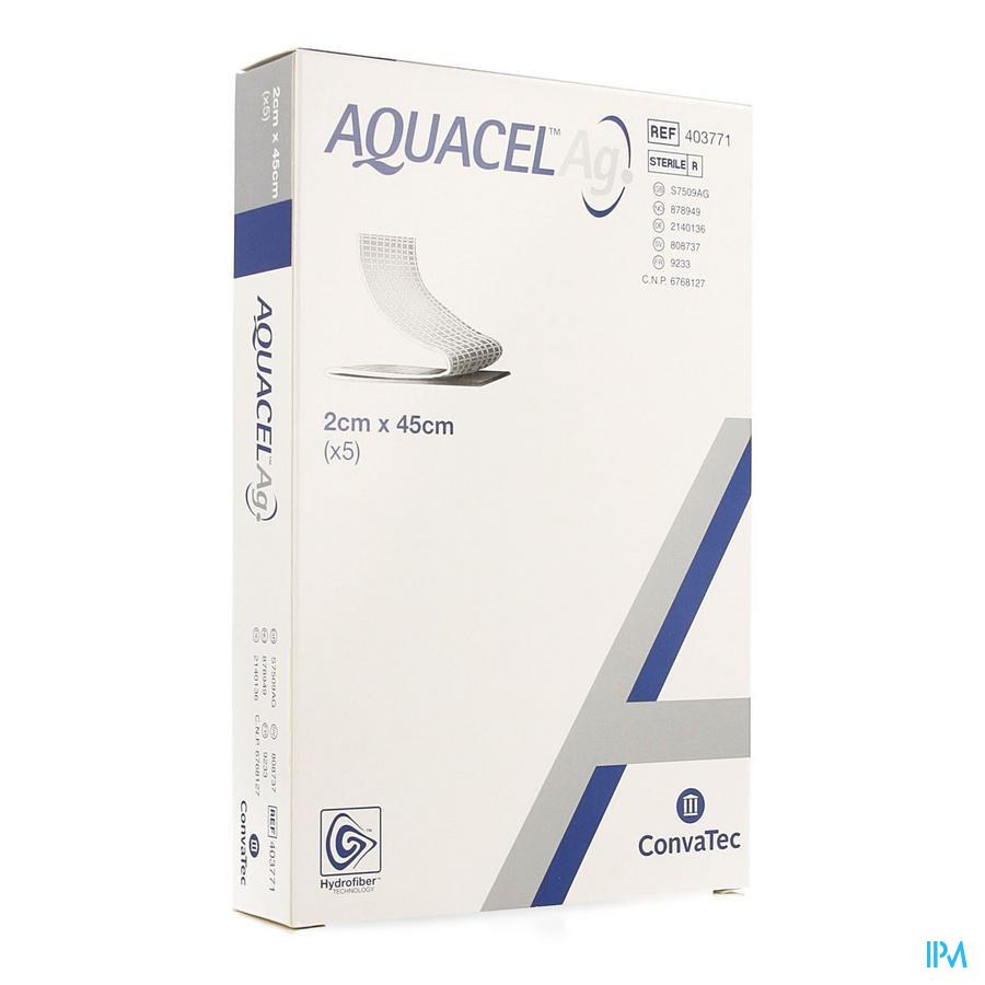 Aquacel Ag Pansement Hydrofiber + renfort Fibre 2x45cm 5  -  Convatec