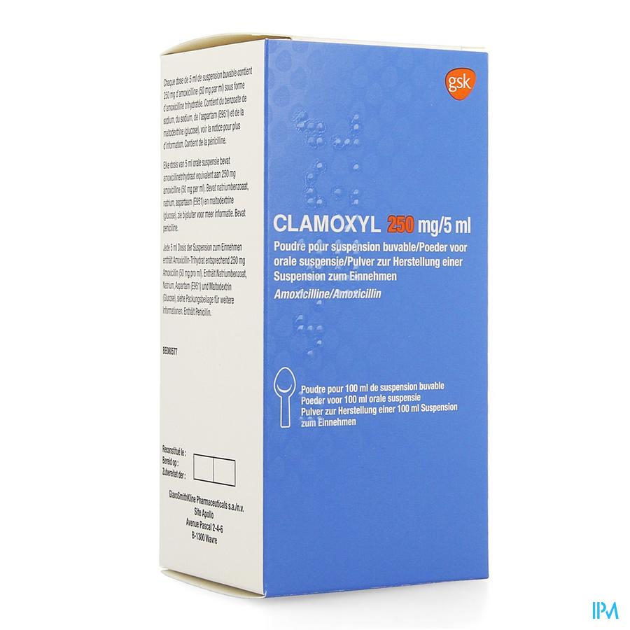 Clamoxyl 250mg/5ml Pdr Voor Siroop 50mg/ml Fl100ml