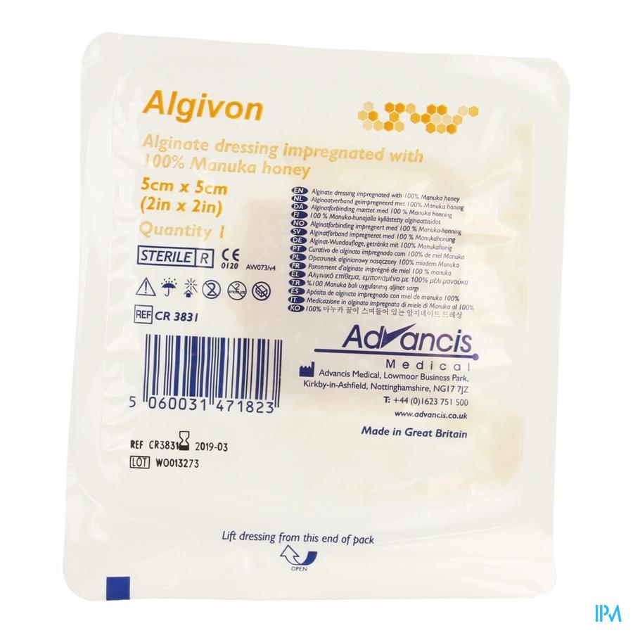 Algivon Alginate Miel Manuka N/adh Ster 5x 5cm 1