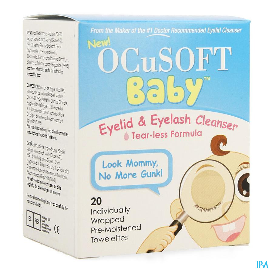 Ocusoft Baby Nettoyant Oculaire Lingettes 20