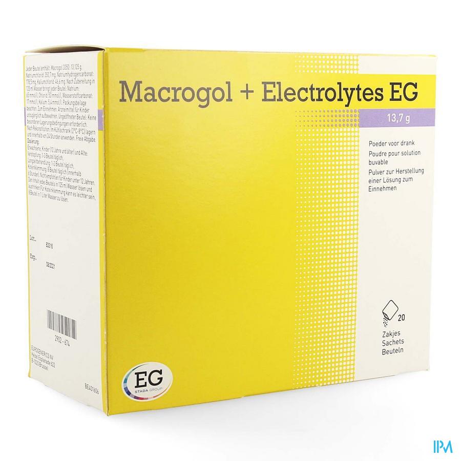 Macrogol+electrolytes Eg 13,7g Pdr Sach 20