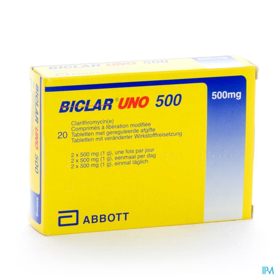 Biclar Uno Comp 20 X 500mg