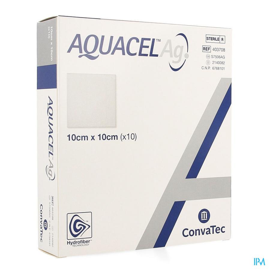Aquacel Ag Pans Hydrofiber Ster 10x10cm 10 403708