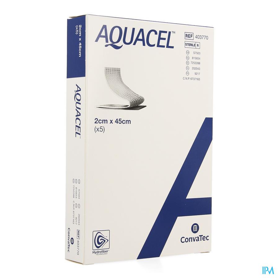 Aquacel Pansement Hydrofiber + renfort Fibre 2x45cm 5  -  Convatec