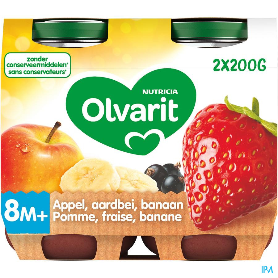 Olvarit Fruit Appel Aardbei Banaan2x200g 8m60