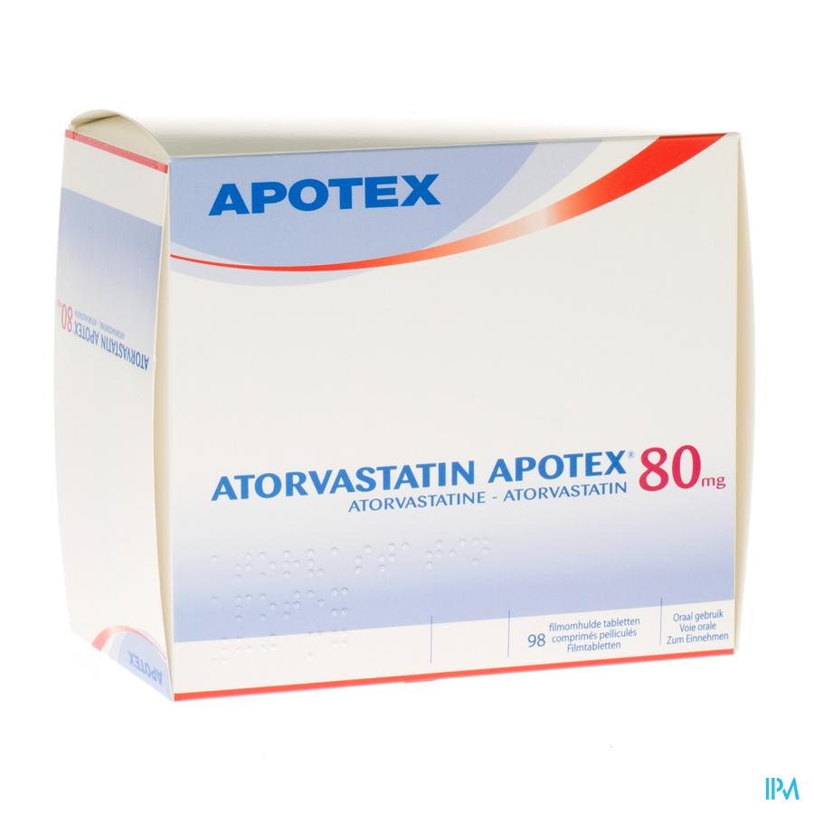 Atorvastatin Apotex 80 mg Filmomhulde Tabletten 98 X 80 mg