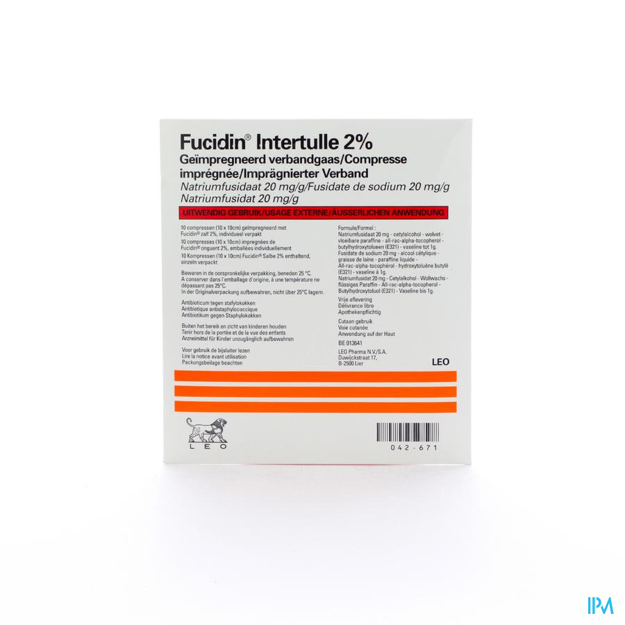Fucidin Intertulle Compres 10x10cm