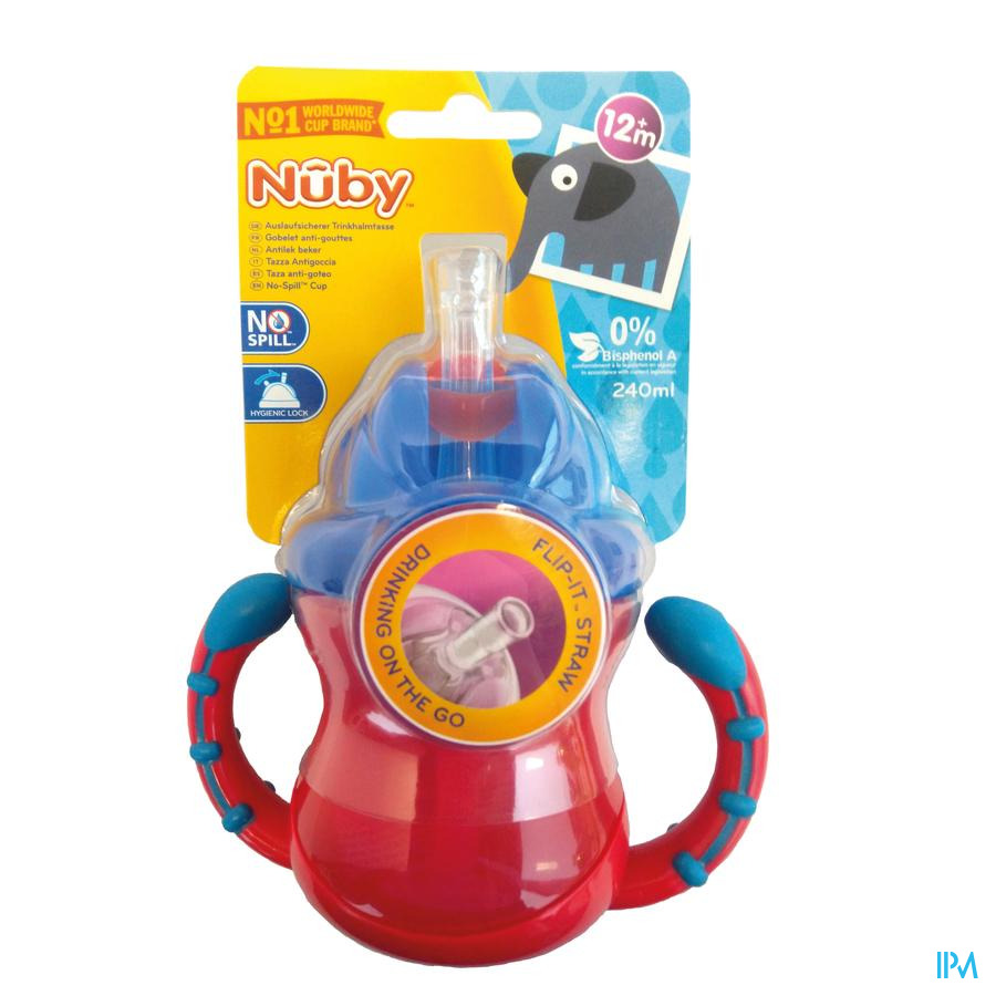 Nuby Gobelet anti-goutte Flip-It™ avec anses - 240ml - 12m+