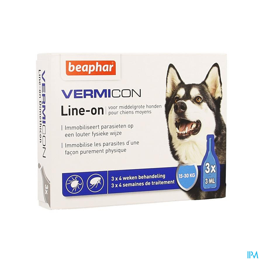 Beaphar Vermicon Line-on Chien Moyen 3x3ml