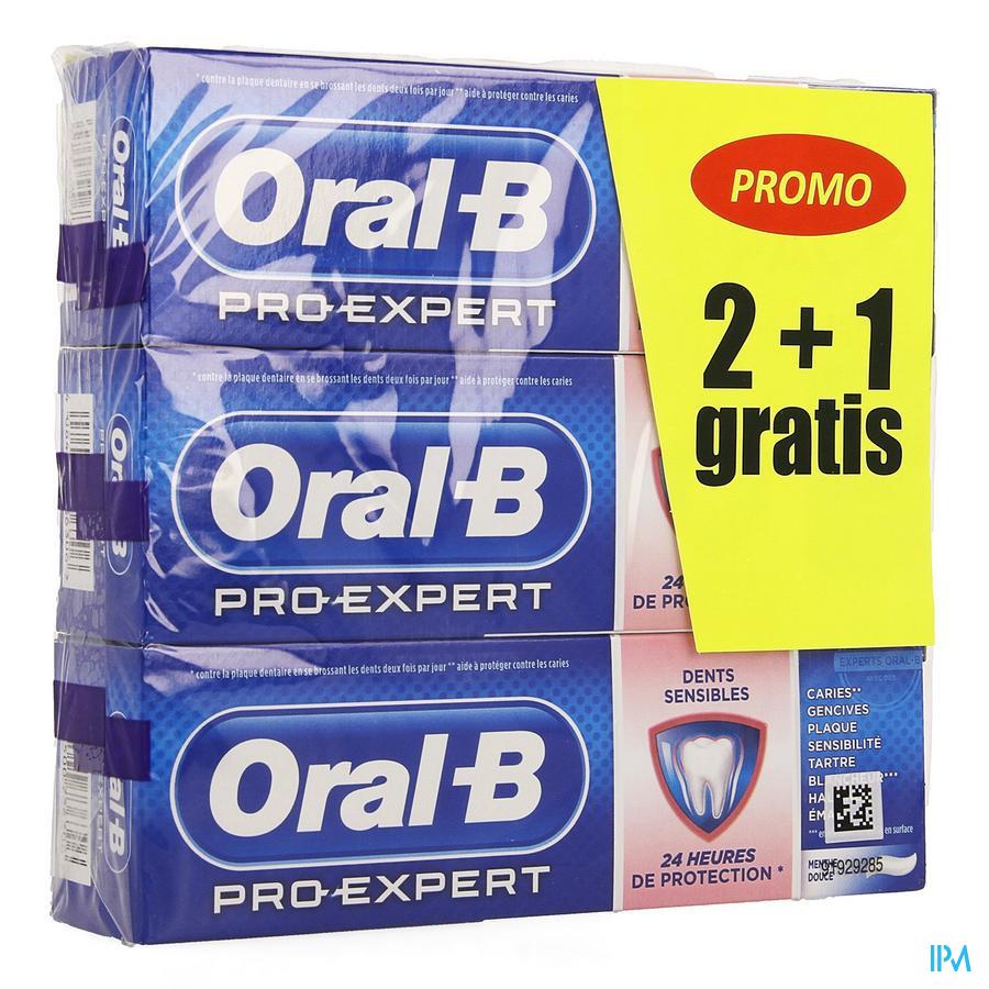 Oral-b Tandpasta Pro-exp Sensitive Prot.3x75ml 2+1