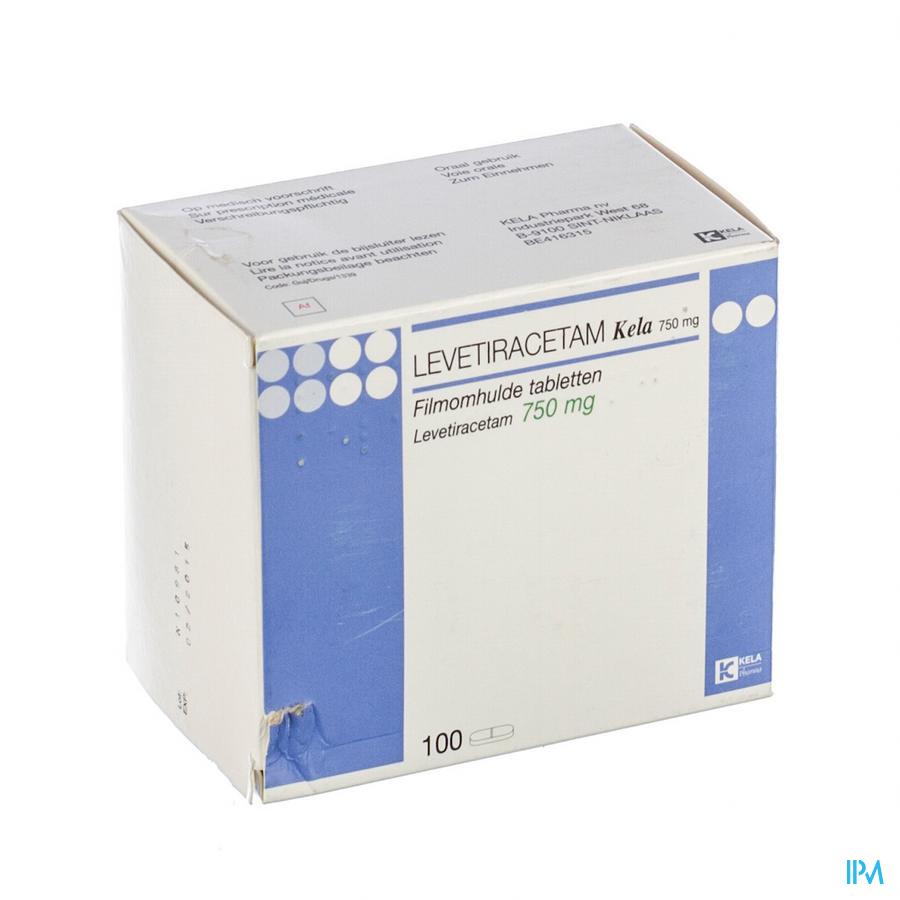 Levetiracetam Kela 750 mg Filmomhulde Tabletten 100x 750 mg