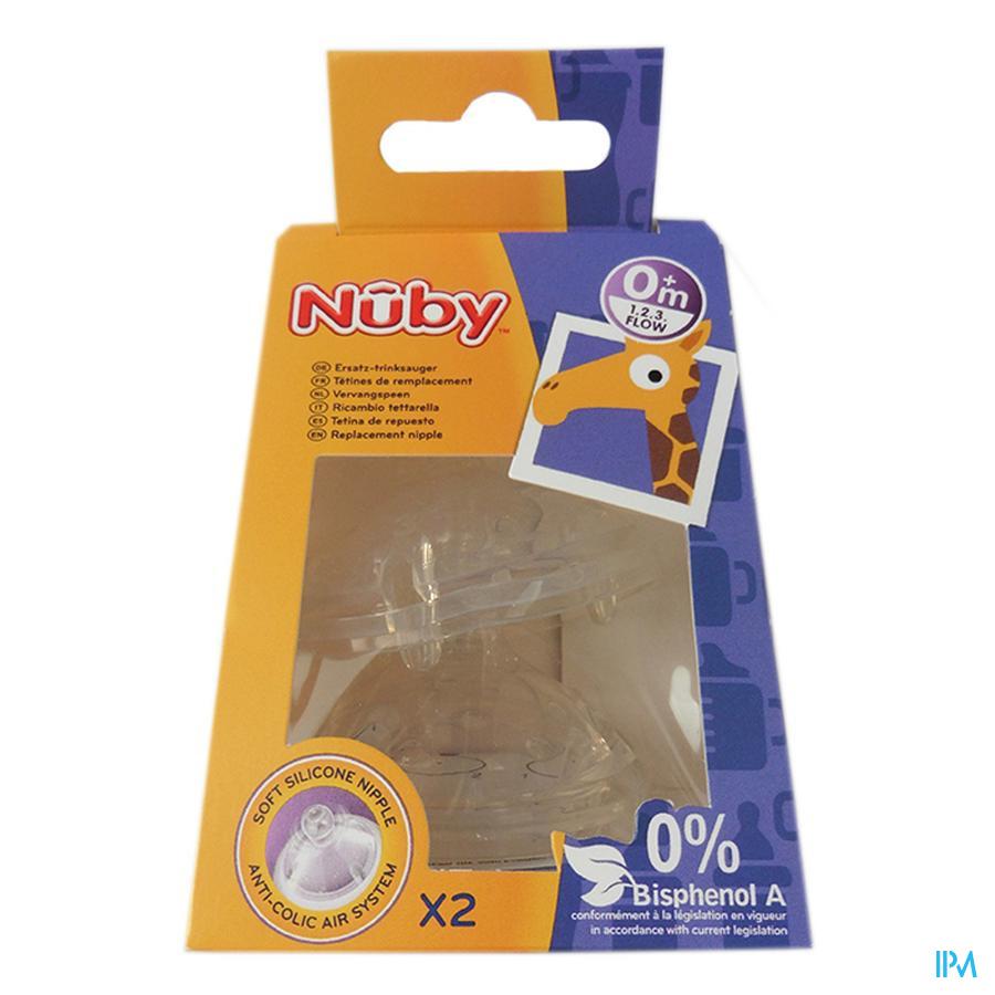 Nûby SoftFlex™ vervangspeen - 1.2.3 flow - 2p – 3m+