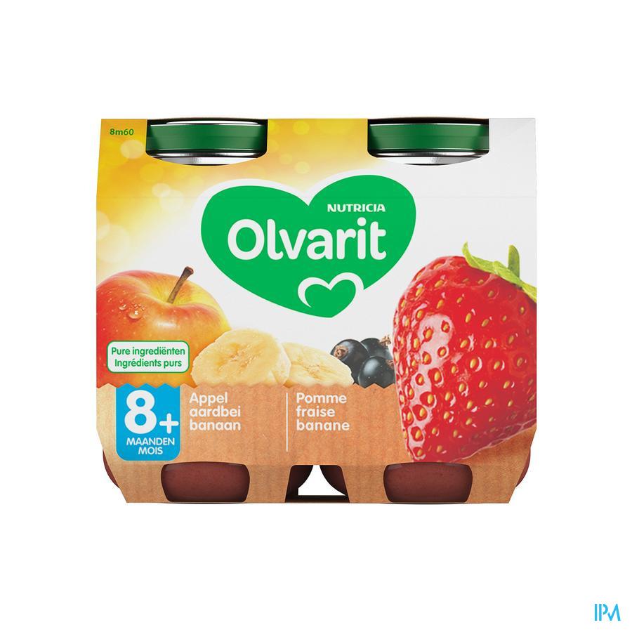 Olvarit Fruit Appel Aardbei Zwarte Bes 2x200g 8m60
